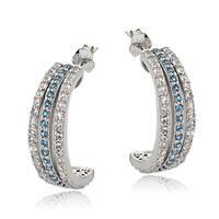 Glitzy Rocks Sterling Silver London Blue and WhiteTopaz Half Hoop Earring