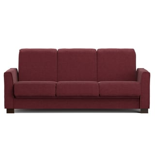 Handy Living Bryant Berry Red Chenille Convert-a-Couch Futon Sofa Sleeper