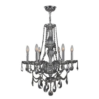 Venetian Italian Style 6-light Chrome Finish and Smoke Crystal Chandelier