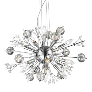 Starburst Collection 20 Light Chrome Finish and Clear Crystal Sputnik Chandelier
