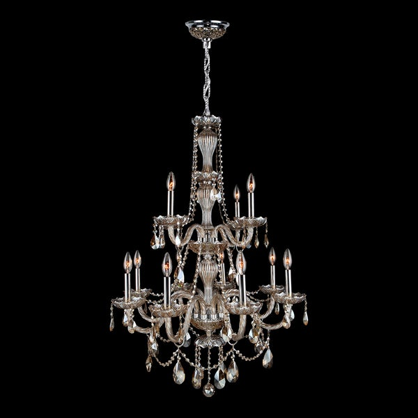 Venetian Italian Style 12 Light Chrome Finish and Golden Teak Crystal Chandelier Two 2 Tier