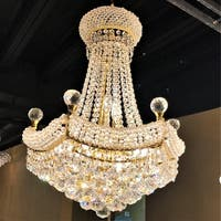 French Empire 12-light Gold Finish and Clear Crystal Chandelier