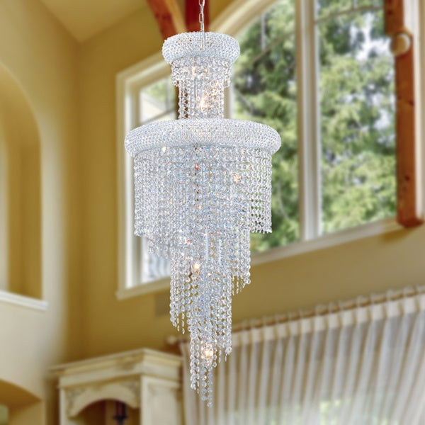 French Empire 10-light Chrome Finish and Clear Crystal Chandelier