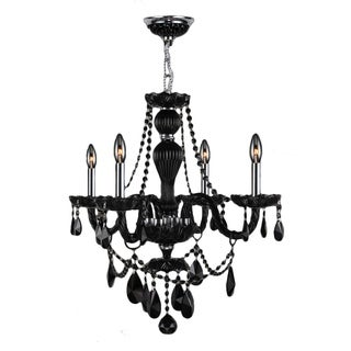 Provence Venetian Style 4-light Chrome Finish and Black Crystal 23-inch Wide Chandelier