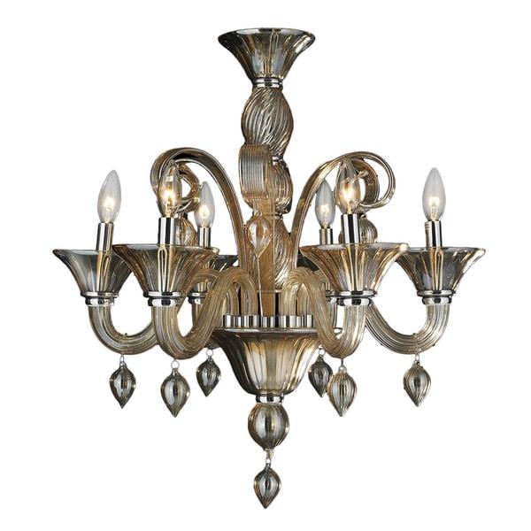 Hinkley Lighting Odette: Murano Venetian Style 6 Light Blown Glass In Amber Finish