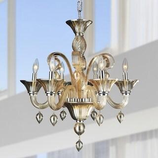Venetian Style 6 Light Blown Glass in Amber Finish Chandelier