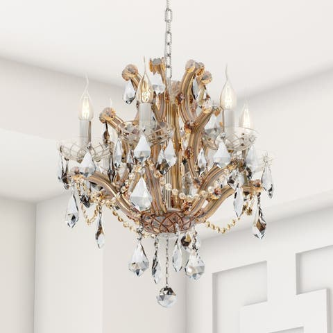 Lyre Collection 6 Light Chrome Finish and Amber Crystal Chandelier