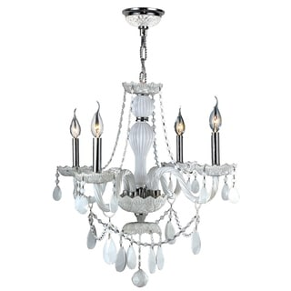 Provence Collection 4 Light Chrome Finish and White Crystal Chandelier