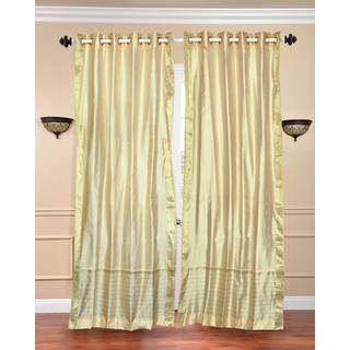 Handmade 84-inch Cream Ring-top Sheer Sari Curtain Window Panel (India)