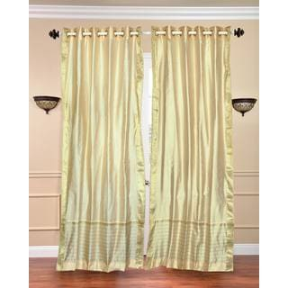 84-inch Cream Ring-top Sheer Sari Curtain Window Panel (India)