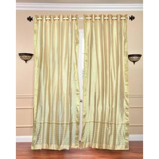 Handmade 84-inch Cream Ring-top Sheer Sari Curtain Window Panel (India)