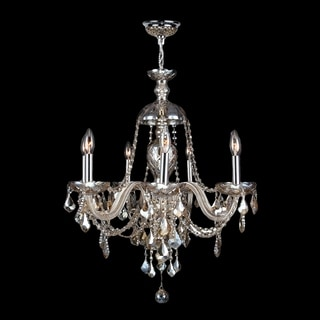 Provence Venetian Style 7-light Chrome Finish and Golden Teak Crystal Candle Chandelier