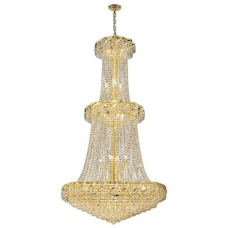 French Empire 32 Light Gold Finish and Clear Crystal 2-tier Chandelier