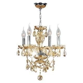 Provence Italian Style 4-light Chrome Finish and Golden Teak Crystal Chandelier