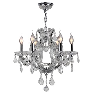 Lyre Collection 6 Light Chrome Finish with Clear Crystal Chandelier