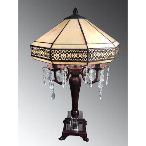 Morisette 4-light Tiffany-style 16-inch Crystal Table Lamp