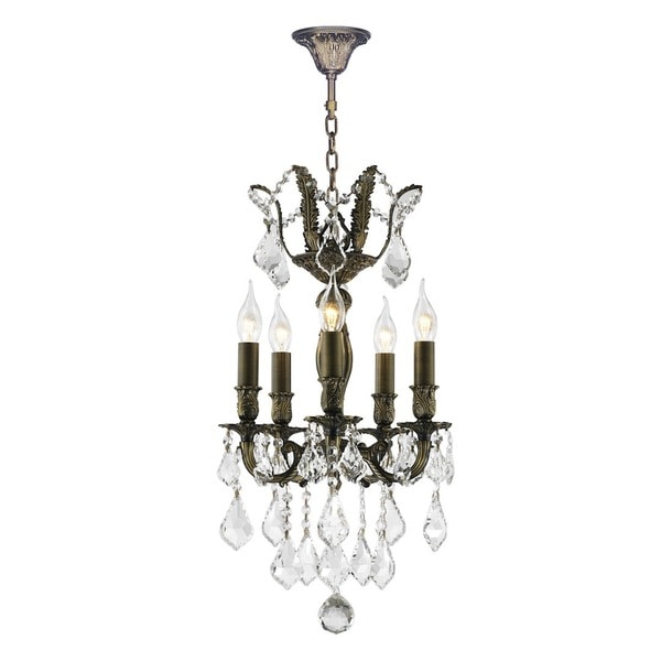 French Versailles Collection 5 Light Antique Bronze Finish 13 Inch Crystal Mini Chandelier