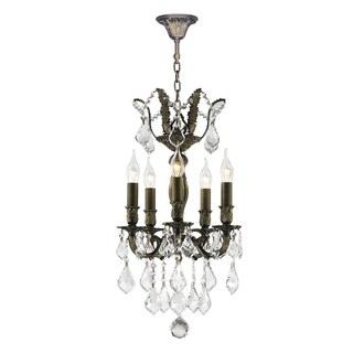 French Versailles Collection 5-light Antique Bronze Finish 13-inch Crystal Mini Chandelier