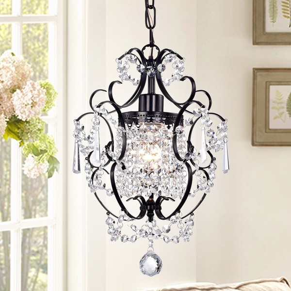 Shop Ava 1-light Black 11-inch Crystal Chandelier