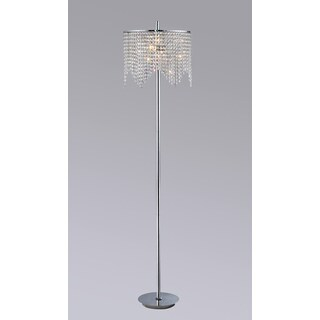 Zoe 3-light Chrome-finished 65-inch Crystal Floor Lamp