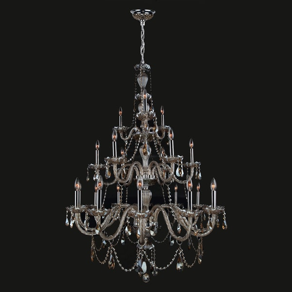 21 Light Chrome Finish And Golden Teak Crystal Chandelier Three 3 Tier