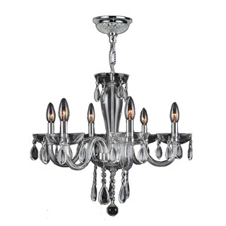 Gatsby Collection 6 Light Chrome Finish and Clear Blown Glass Chandelier