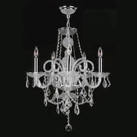 Venetian Italian Style 5-light Chrome Finish and Clear Crystal Chandelier