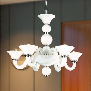 Murano Venetian Style 6-light Blown Glass in White Finish 23 x 19-inch Chandelier