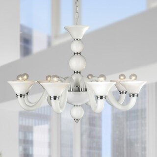 Murano Venetian Style 8 Light Blown Glass in White Finish Chandelier