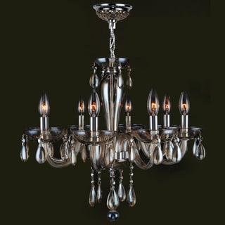 Gatsby Collection 8 Light Chrome Finish and Golden Teak Blown Glass Chandelier