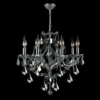 Lyre Collection 8-light Chrome Finish and Black Crystal Chandelier