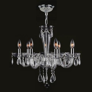 Gatsby Collection 8 Light Chrome Finish and Clear Blown Glass Chandelier