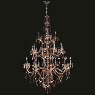 Provence Collection 25 Light Chrome Finish and Amber Crystal Chandelier Three 3 Tier