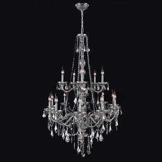 Provence Collection 15 Light Chrome Finish and Chrome Crystal Chandelier Two 2 Tier