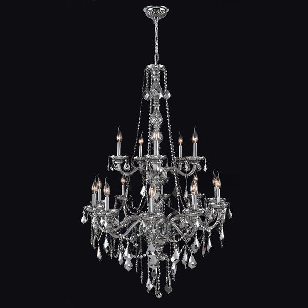 15 Light Chrome Finish And Chrome Crystal Chandelier Two 2 Tier