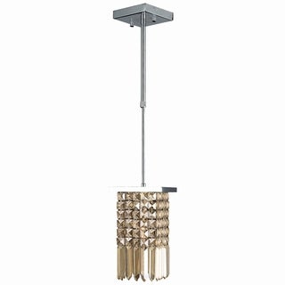 Torrent Collection 1 Light Chrome Finish and Golden Teak Crystal Sqaure Mini Pendant Light