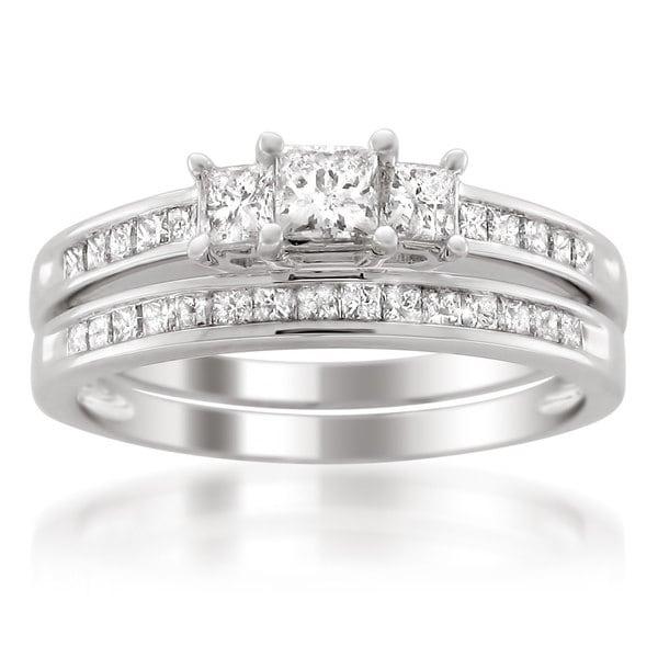 Montebello 14k White Gold 1ct TDW Princess-cut White Diamond Engagment Ring and Wedding Band Bridal