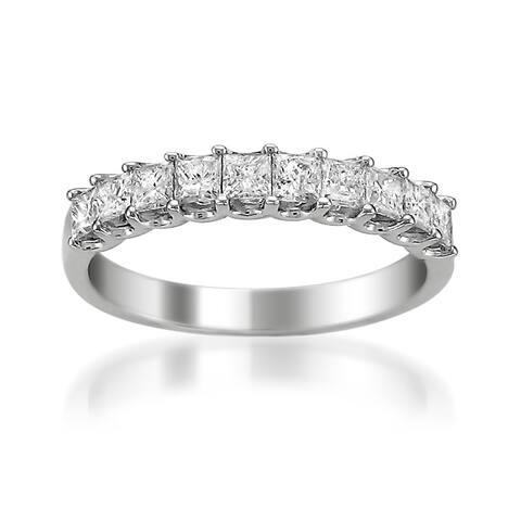 Montebello 14KT White Gold 1ct TDW Princess-cut Diamond Wedding Band