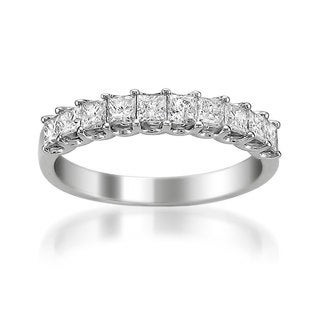 Montebello 14k White Gold 1ct TDW Princess-cut White Diamond Wedding Band