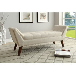Kaya Beige Linen Fabric Bench