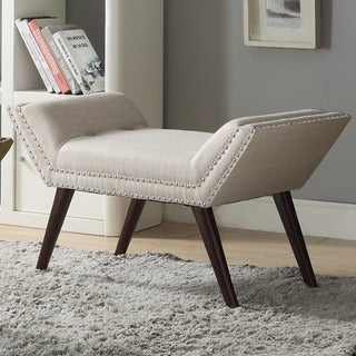 Clay Alder Home Montlake Linen Bench with Nailhead Trim