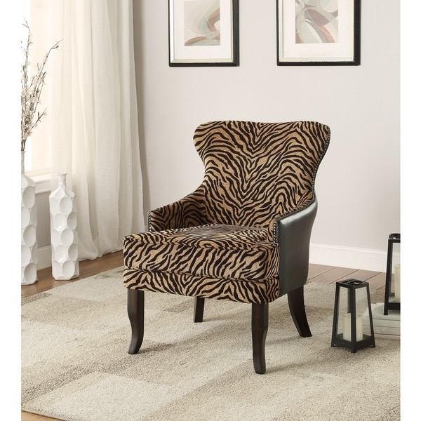 Leather Couch With Fabric Accent Chair: Shop Bengal Faux Leather/ Fabric Accent Chair With Stud