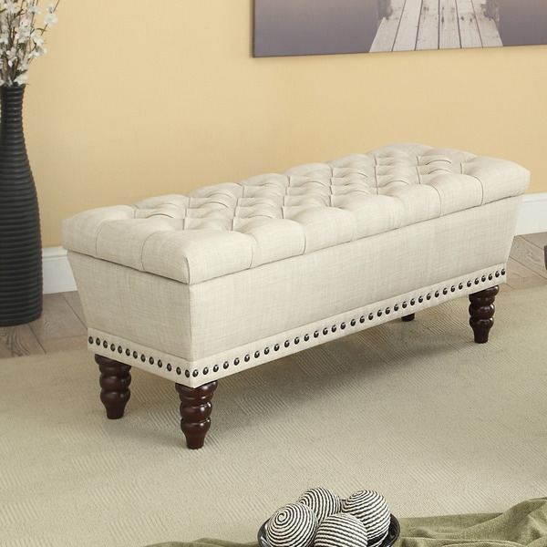Hampton Linen Tufted Storage Bench Free Shipping Today