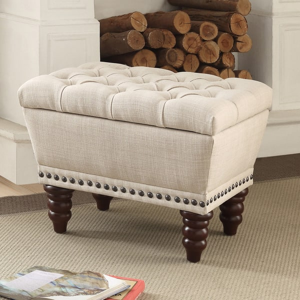 Surprising Shop Hampton Linen Tufted Single Storage Bench Free Ncnpc Chair Design For Home Ncnpcorg