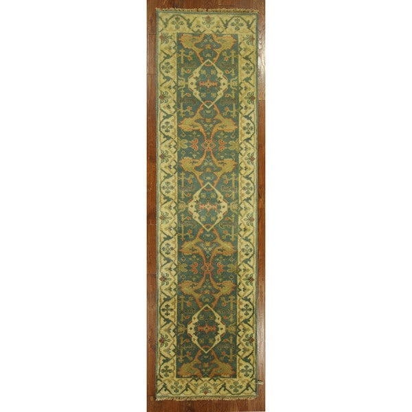Shop Hand-knotted New Runner Teal Blue Wool Oushak Turkish
