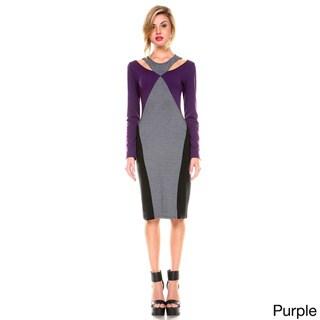 Stanzino Women's Colorblock Knee Length Dress with Cut-out Neckline