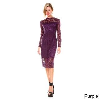 Stanzino Women's Mock Neck Long Sleeve Lace Dress
