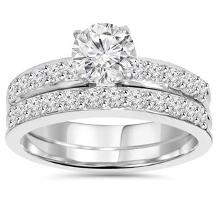 14k White Gold 1 1/4 ct TDW Pave Diamond Wedding Ring Set (I-J, I2-I3)