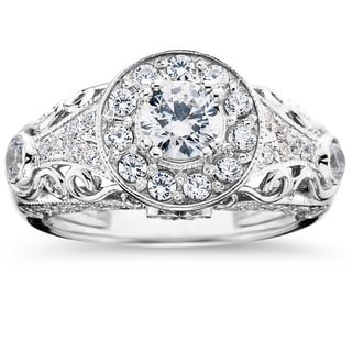 14k White Gold 1 1/2 ct TDW Vintage Diamond Round Engagement Wedding Ring (I-J, I2-I3)
