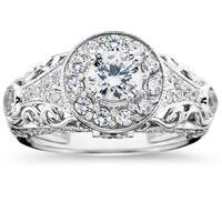 14k White Gold 1 1/2 ct TDW Vintage Diamond Round Engagement Wedding Ring
